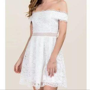 Francesca's off the shoulder white lace dress
